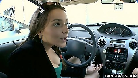 Fuck team is driving around Natasha Nice and Haley Sweet