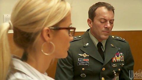 Military style Dana DeArmond going to fuck in bathroom