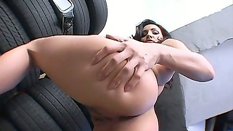 Big ass Agatha Kristine spreading her big butt and dildo fucking her ass
