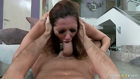 Rough milf blowjob from Francesca Le doggy style with facial cumshot