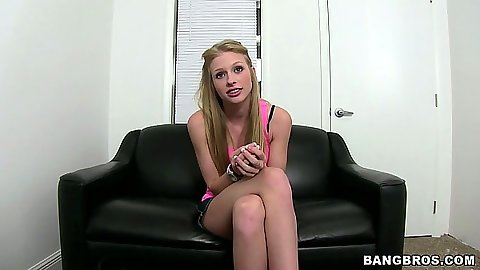 Hot amateur teen Avril Hall sitting at her sex audition