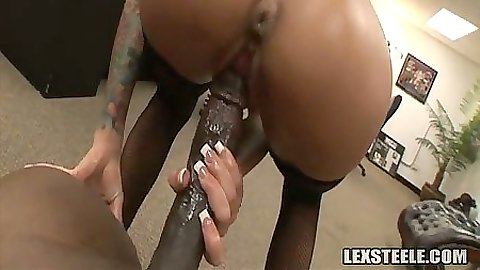 Tight ass milf Angelina Valentine sits on big black dick and rides it hard