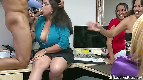 Big tits brunette getting a piece of dancing bears dick