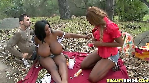 Huge natural tits Maserati and Tori Taylor threesome park picnic threesome