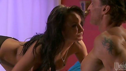 Brunette milf Alektra Blue crawls on guy and sits on his cock
