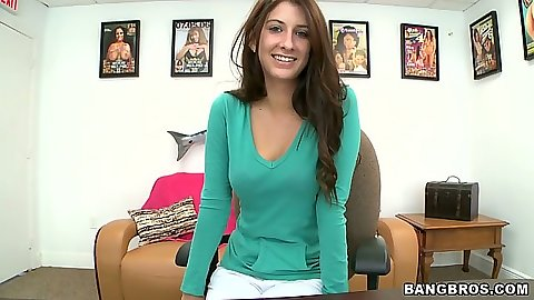Cute amateur teen Karina White takes off her shirt and pants