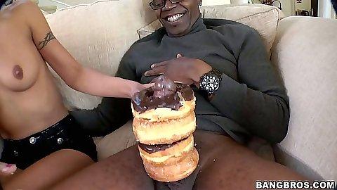 Teen slut Lou Charmelle licks the doughnut cream of cock