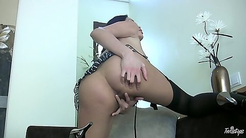 Solo babe Beverly spreading and touching wet pussy