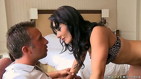 Natural tits Sandra Romain crawling down for blowjob