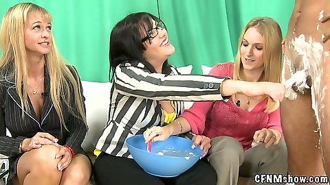 Cfnm show with male getting cock shaved by dressed females