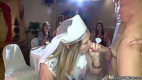 Bride to be happy enough to suck down dancing bear