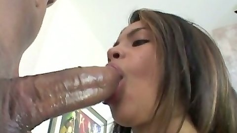 Big tits latina Lolly sucking fat black cock and riding it