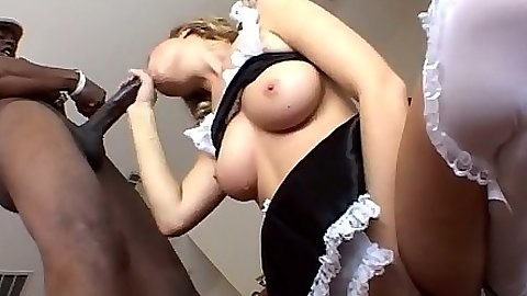 Spicy maid Mysti May sucking black cock and cowgirl fuck in uniform