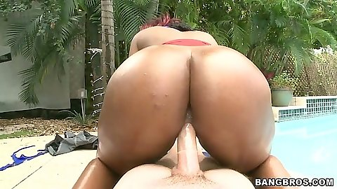 Big ass Bailey Brooke sitting on cock and self fingers own anus