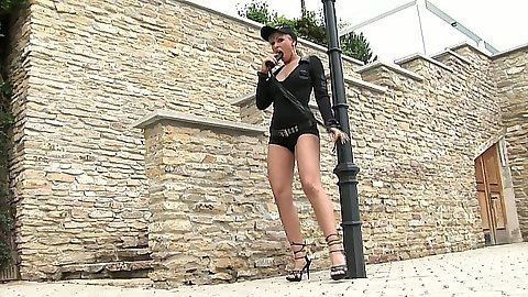 Outdoor solo strip from private fbi detective Adrianna Russo