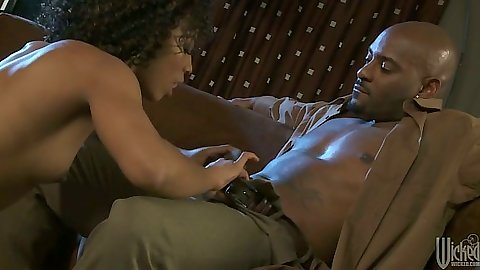 Small tits black girl Misty Stone going down on dick