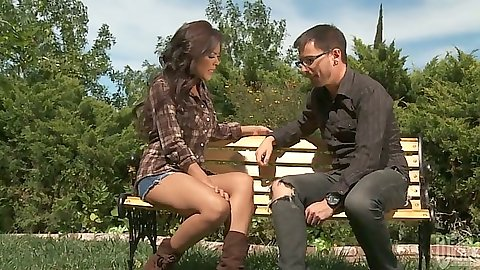 Asian Kaylani Lei makes out on the bench and sucks cock