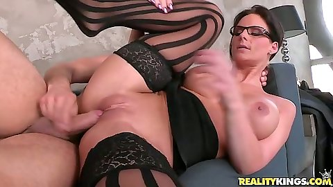 Big tits brunette milf Phoenix Marie sideways fucked with a moan