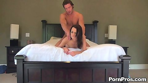 Doggy style rear entry with 18 year old Mimi Rayne on the bed and pov