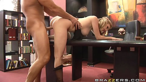 Office desk never saw such perfect tits slammed on it