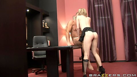 Big tits blonde whore sucks off her boss on office table