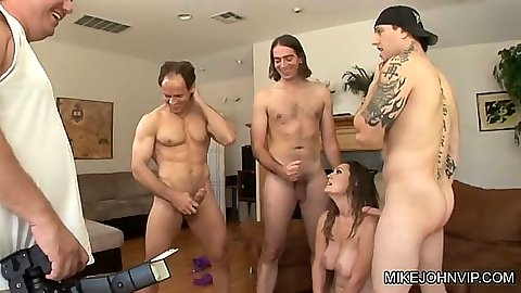 Group gang bang blowjob and photo shoot with latina