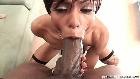 Fat black cock fucking ebony Marie Luv in the mouth