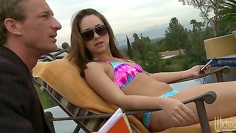 Outdoor by the pool with Remy Lacroix and she goes for blow
