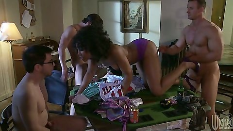 Group sex during foursome with Alektra Blue and Misty Stone