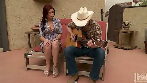 Brooklyn Lee brunette sitting listening to guiter