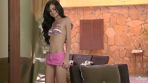 18 year old Zoey Kush stripping showing petite teen body