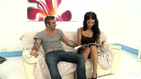 Brunette babe Megan Coxxx proceeds to suck his cock