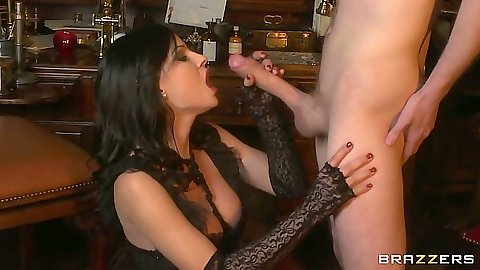 Blowjob from brunette with big boobs Abbie Cat