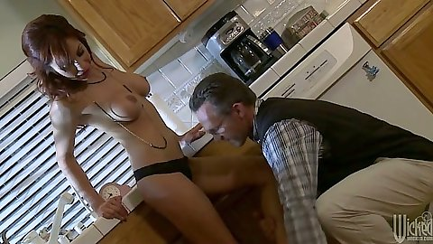 Big tits redhead milf Kirsten Price getting trimmed pussy licked in kitchen