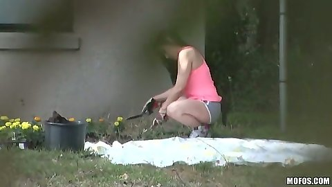 Spying on Jasmine while she does some gardening