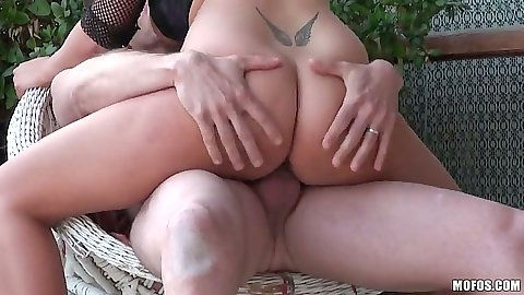 Nice ass LeGall sitting on cock with big tits flapping