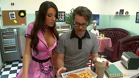 Waitress Kortney Kane wearing her tight body uniform seduces guy