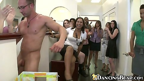 Dancing bear shaking that dick for the group of slut ladies
