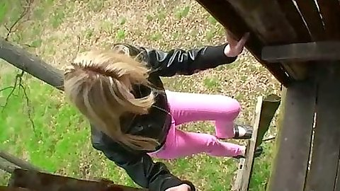 Teen KerryYoung climbing to jerk and suck dudes cock outdoors
