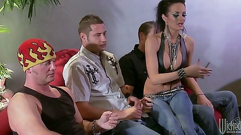 Alektra Blue handjob and sucking many cocks at once in group