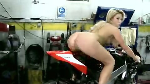 Nice ass teen riding a motocycle naked and masturbating