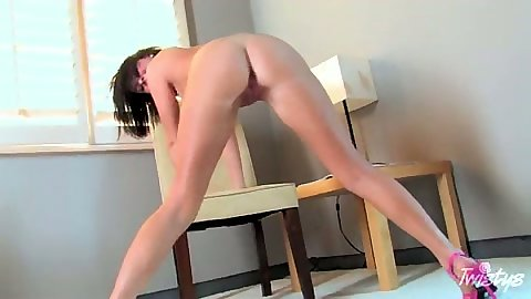 Big tits Loni Evans solo masturbation with dildo and legs spread
