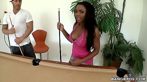Ebony hottie Persia playing some pool takes off her clothes
