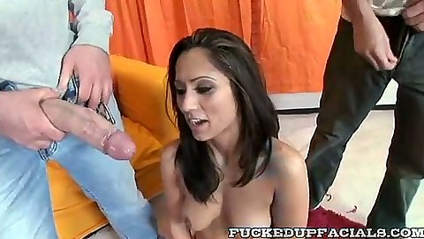 Group big dick face fucking with Reena and doggy style
