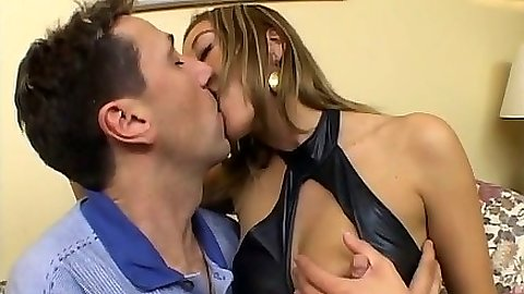 Making out with natural small tits latina Carla and blowjob