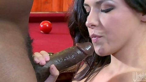 Interracial blowjob with Danica Dillon sucking black cock and front penetration