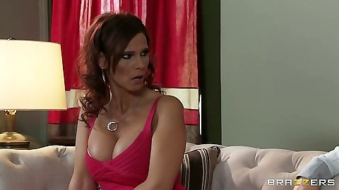 Busty milf Syren DeMer going down for a deep throat blowjob