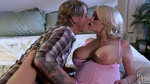 Making out with big tits milf Stormy Daniels wearing sexy lingerie