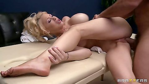 Doggy style and sideways fucking Candy Manson after massage