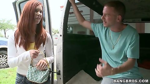 Redhead Melody Jordan picked up for a cruise in the bangbus